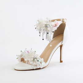 PU Beads Stiletto Open Toe Heel Covering Shoes