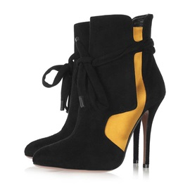 Suede Pointed Toe Stiletto Women's Black Boots