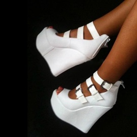 PU Peep Toe Zipper Buckle Wedge White Sandals