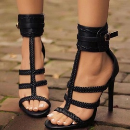 Plain Open Toe Buckle Heel Sandals