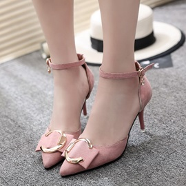 Suede Fabric Buckle Pointed Toe Stiletto Pumps