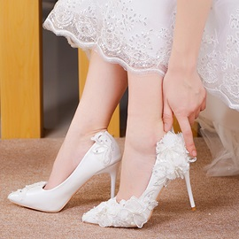 PU Slip-On Beads Rhinestone Stiletto Whited Shoes
