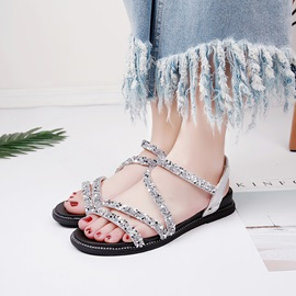 PU Sequin Elastic Band Flat Sandals