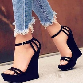 Open Toe Line-Style Buckle Wedge Sandals