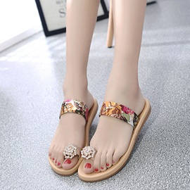 Silk Fabric Floral Print Roe Ring Women's Slide Sandals