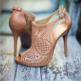 Tidebuy PU Peep-Toe Stiletto Heel Sandals