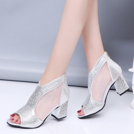Clear Rhinestone Patchwork Plain Chunky Heel Sandals