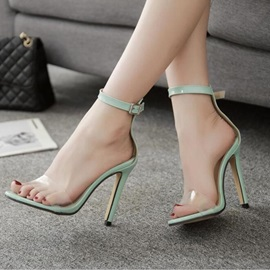PU Line-Style Buckle Heel Covering Sandals