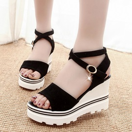 Buckle Ankle Strap Wedge Heel Women's Sandals