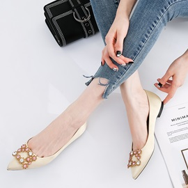 Silk Fabric Rhinestone Pointed Toe Block Heel Women's Flats