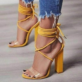 PVC Plain Open Toe Lace-Up Heel Sandals