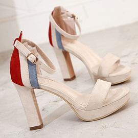 Faux Suede Color Block Platform Chunky Heel Women's Sandals