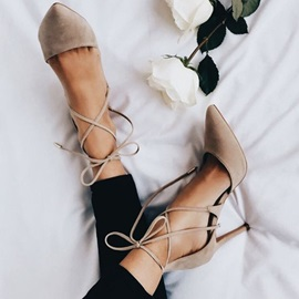 Pointed Toe Stiletto Heel Lace-Up Pumps
