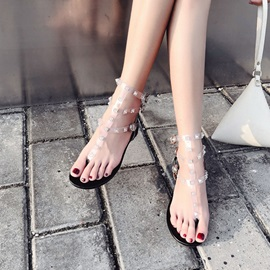 PVC Rhinestone Block Heel Women's Sandals