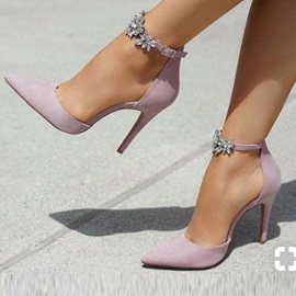 Pointed Toe Line-Style Buckle Stiletto Heel Pumps