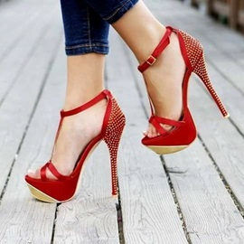 Rhinestone T-Shaped Buckle Platform Stiletto Heel Women's Sandals