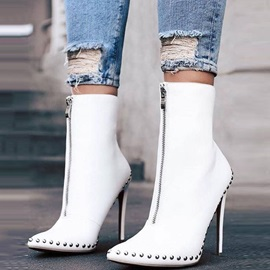 PU Rivet Pointed Toe Stiletto Heel Women's Ankle Boots