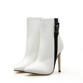 Patchwork Side Zipper Stiletto Heel Women's Ankle Boots