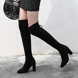 Faux Suede Chunky Heel Women's Knee High Boots