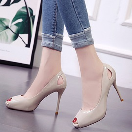 PU Hollow Peep Toe Stiletto Heel Women's Pumps