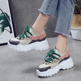 PU Patchwork Platform Lace-Up Women's Sneakers