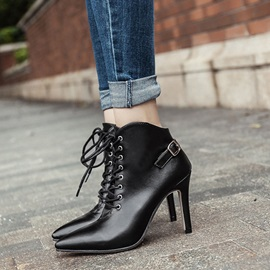 PU Side Zipper Pointed Toe Women's Ankle Boots