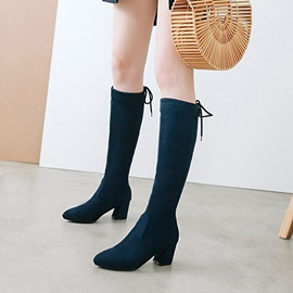 Plain Chunky Heel Pointed Toe Women's Knee High Boots