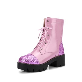 Glitter Patchwork Lace-Up Front Women's Boots