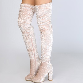 Plain Side Zipper Chunky Heel Thigh High Boots