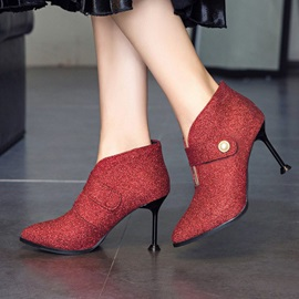 Velcro Pointed Toe Stiletto Heel Women's Ankle Boots