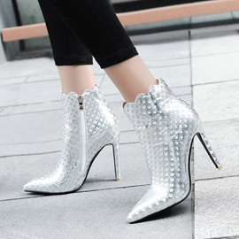 Plain Pointed Toe Stiletto Heel Ankle Boots