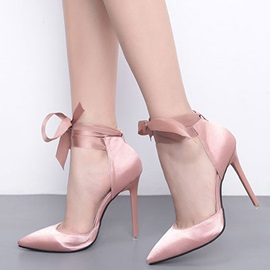 Plain Pointed Toe Stiletto Heel Lace-Up Women's Pumps