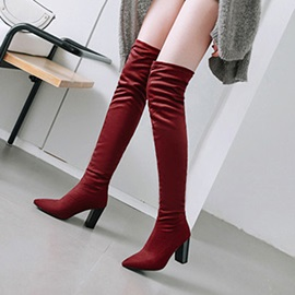 Plain Pointed Toe Chunky Heel Over The Knee Boots
