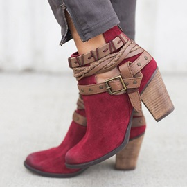Faux Suede Round Toe Chunky Heel Women's Ankle Boots