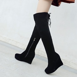 Round Toe Hidden Elevator Heel Over The Knee Boots