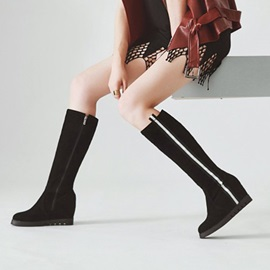 Plain Hidden Elevator Heel Knee High Boots