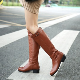 Round Toe Block Heel Women's Knee High Boots