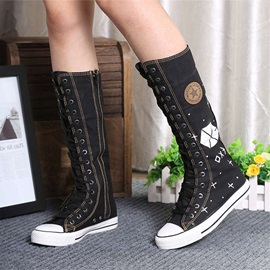 Canvas Side Zipper Round Toe Women's Knee High Boots