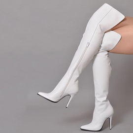 Plain Stiletto Heel Side Zipper Women's Knee High Boots