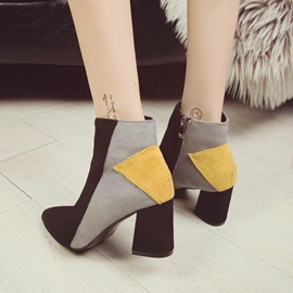 Pointed Toe Chunky Heel Side Zipper Women's Boots