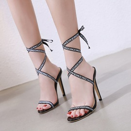 Open Toe Stiletto Heel Lace-Up Women's Sandals