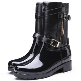 Block Heel Plain Side Zipper Women's Hunter Boots