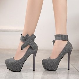 Bow Stiletto Heel Velcro Plaid Women's Pumps