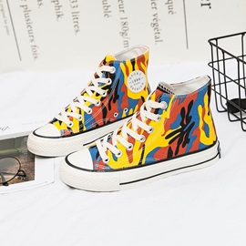 Canvas Print Round Toe Lace-Up Women's Sneakers