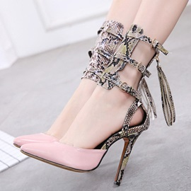 Serpentine Pointed Toe Zipper Heel Covering Women's Sandals