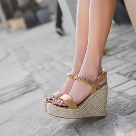 Plain Wedge Heel Ankle Strap Women's Sandals