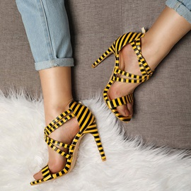 Stripe Buckle Stiletto Heel Women's Sandals