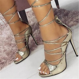 PU Cross Strap Stiletto Heel Heel Covering Women's Sandals