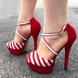 Stripe Heel Covering Peep Toe Stiletto Heel Women's Sandals