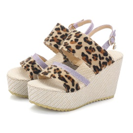 Leopard Print Platform Wedge Heel Strappy Women's Sandals